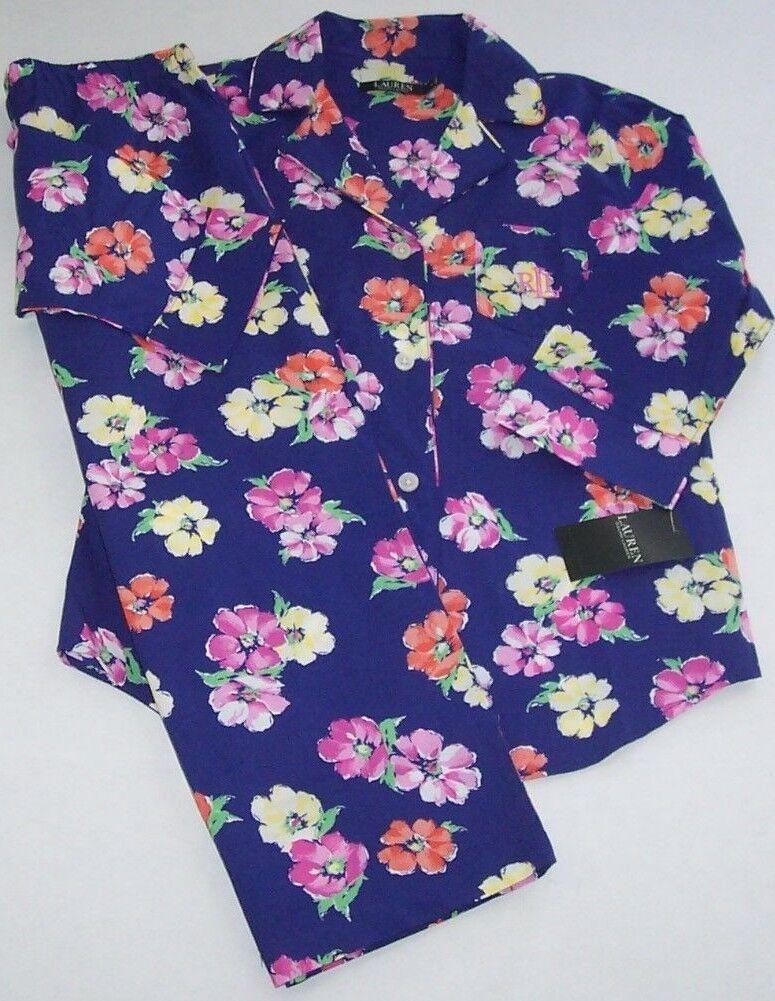 NWT Ralph Lauren bluee COLORFUL FLORAL Cotton Pajama CAPRI Set L Lightweight NICE