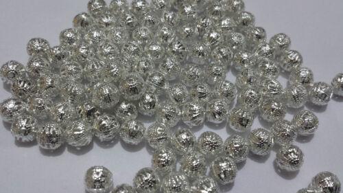 80 X Plaqué Argent Métal En Filigrane Ronde Ball Spacer Beads 8 mm fabrication de bijoux