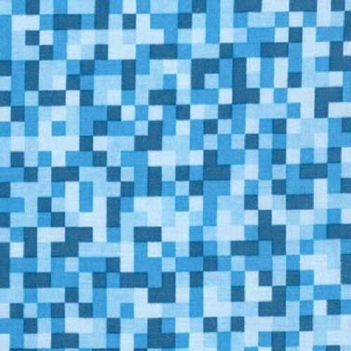 Cuarto gordo píxeles azul de mapa de bits 100/% algodón Quilting fabric Michael Miller