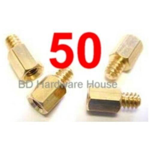 Standoffs Screw PCB Spacer 50 Brass 6//32 Male x 6-32 Female Standoff Screws