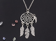 "Dream catcher Feather Wing Tassel Charm Long 30"" Chain Necklace Native American"