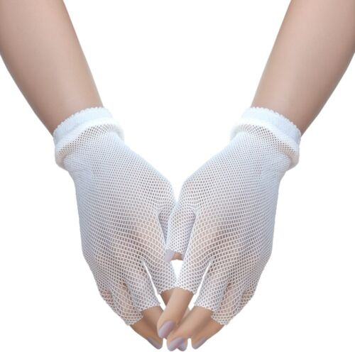 80s Fishnet Wrist Length Fingerless Gloves