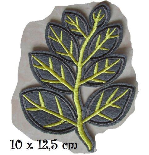 ÉCUSSON APPLIQUE PATCH thermocollant VERT,10 x 12,5 cm FEUILLE ARBRE NATURE