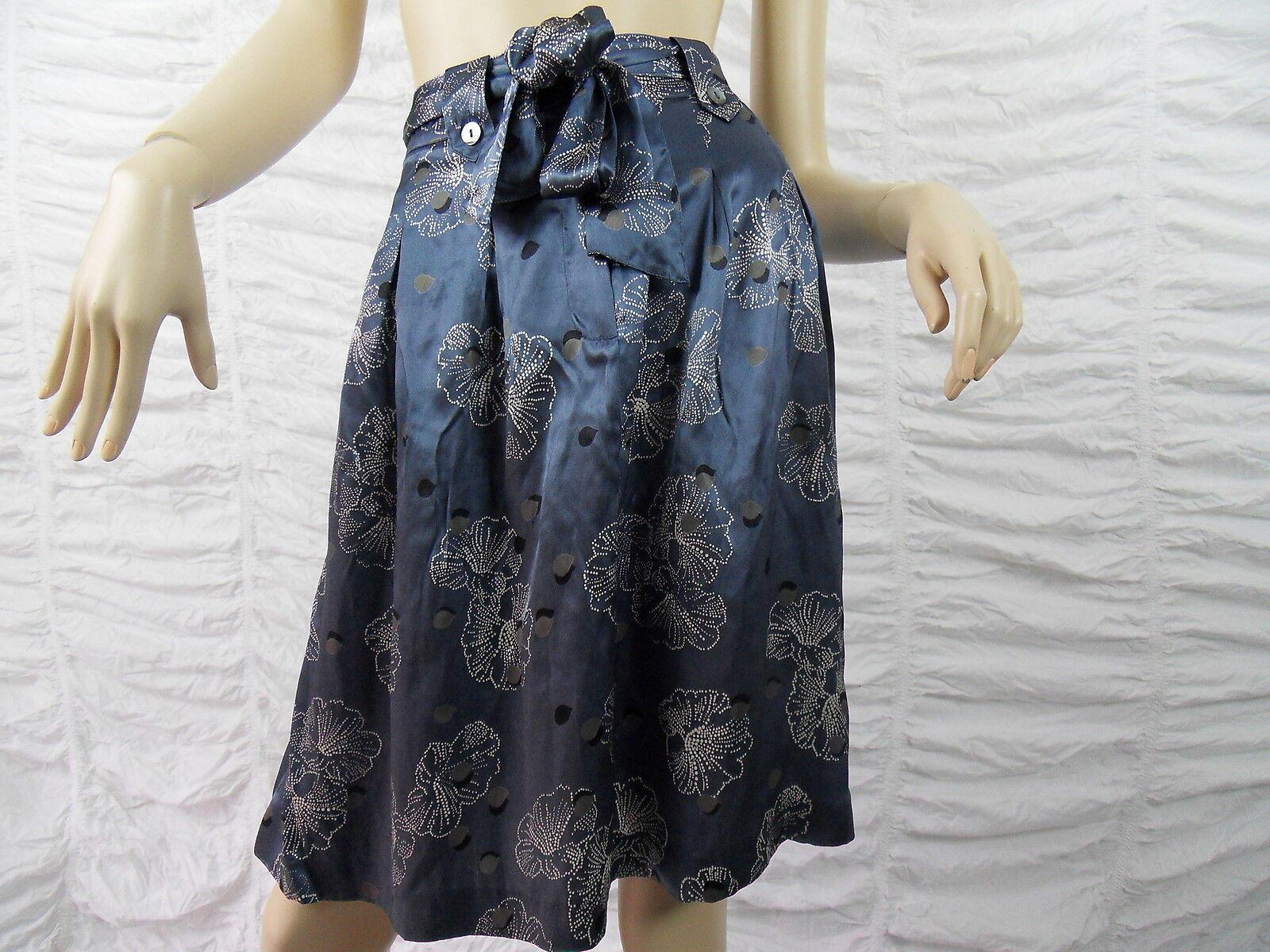 TABLE EIGHT bluee floral print 100% silk A-line skirt size 10 BNWT