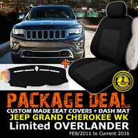 Car Seat Covers 2rows + Dash Mat Jeep Grand Cherokee Wk Limited 2/2011-16 Dm1236
