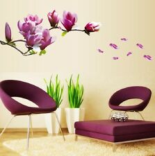 Púrpura Magnolia Flor árbol extraíble Wall Decals Sticker Mural Casa De Decoración De Arte