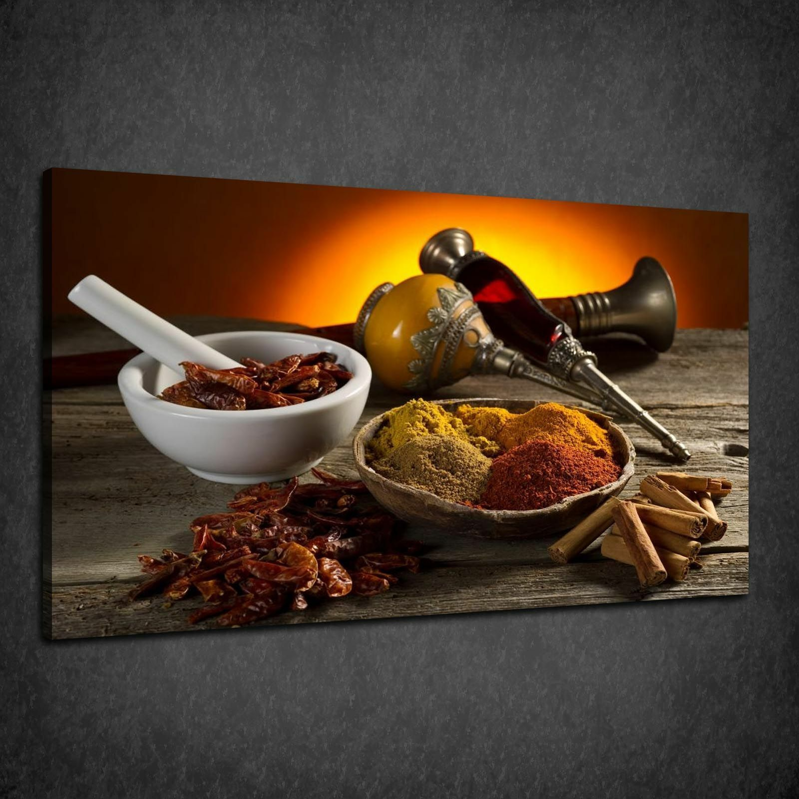 VARIETY OF SPICES HERBS KITCHEN DESIGN BOX CANVAS PRINT WALL ART PICTURE
