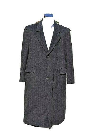 Stafford Mens Wool/Cashmere Grey Heavy Long Trenc