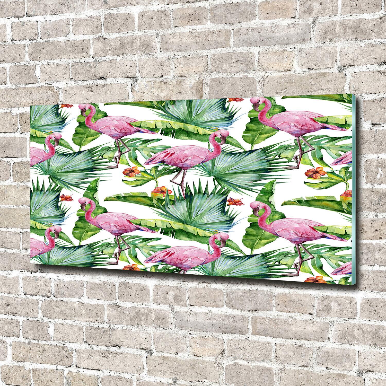 Wandbild aus Plexiglas® Druck auf Acryl 140x70 Tiere Flamingos Pflanzen