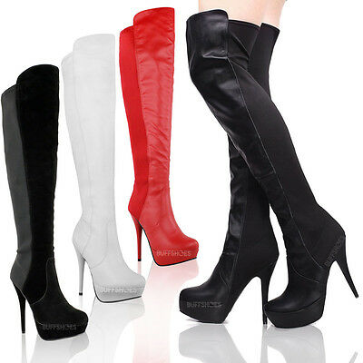 WOMENS LADIES HIGH HEEL STILETTO OVER THE KNEE THIGH HIGH BOOTS WIDE LEG SIZE