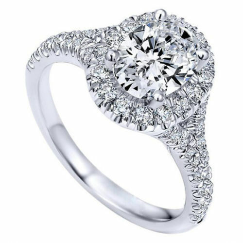 3.00 ct White Oval Cut Diamond Halo Engagement Ring Eternity Band Set 925 Silver
