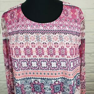 Croft-amp-Barrow-Women-s-Size-XL-Blouse-Sheer-Lined-3-4-Sleeves-Pink-Stretch-Top
