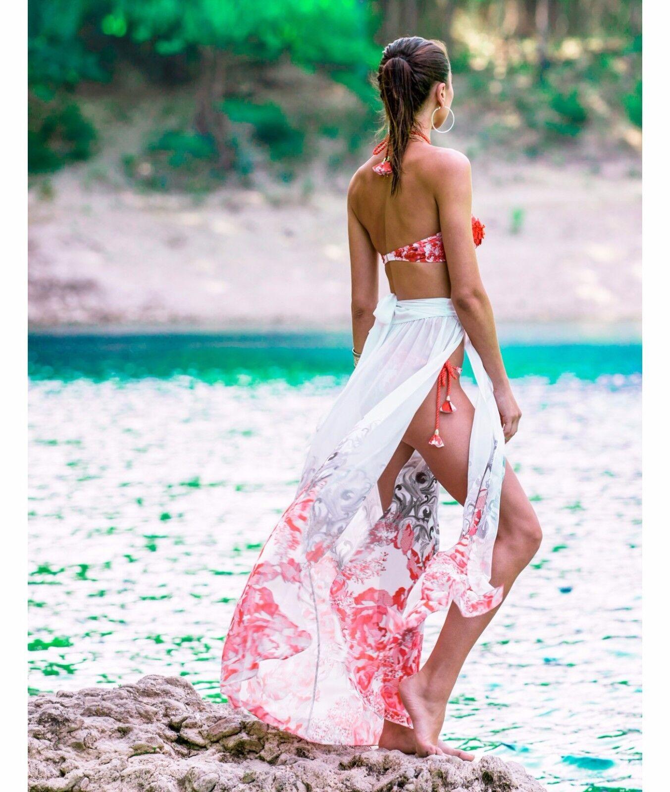 Forever unico Capri rosso bianco fiore floreale Beach Coscia Coscia Coscia SPLIT Maxi Gonna 10 8 3988db