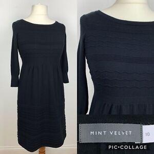 Mint-Velvet-Puntada-Tejido-Negro-Vestido-Vestido-Fit-amp-Flare-UK10-Jumper