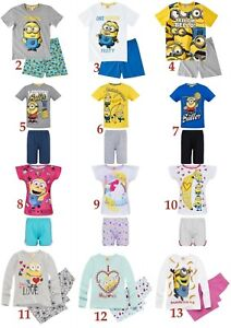 Boys Girls Kids Ex-Store Minions Pajamas PJ/'s T-Shirt Shorts Set Lounge 2-14 Yrs