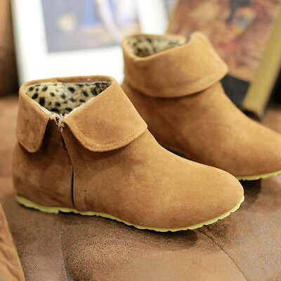UK C8 Womens Winter Autumn Ankle Boots Faux Suede Plus Size Casual Boots