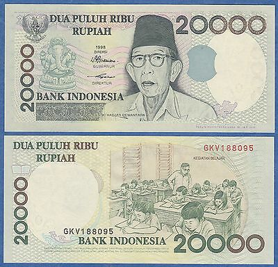 Indonesia 20000 Rupiah P 138 D Unc 1998 Combine Free 20,000 Buy One Get One Free 2001 Low Shipping