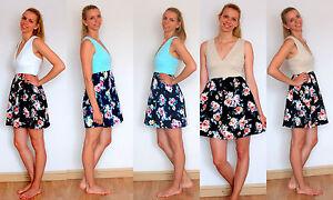 Mujer-Dama-Verano-Pantalla-Estampado-De-Rosas-Vestido-Elastico-Hecho-en-Francia