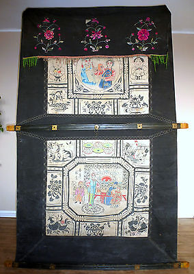 Xxl Large Curtain Hochzeitsvorhang Asian Antiques China China Um 1900 Hand Painted Wedding B-11417 Complete Range Of Articles