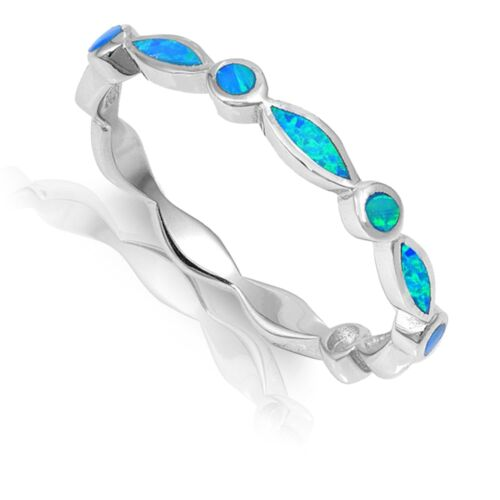Marquise Round Blue Australian Fire Opal Inlay Sterling Silver Eternity Ring