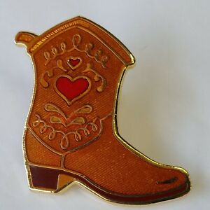 Cowboy Cowgirl Boots Lapel Hat Pin Brown With Heart Vintage Enamel By Hallmark