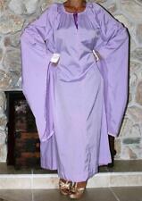 L / XL SWISHY PURPLE VINTAGE LINGERIE GOWN DRESS LONG SLEEVES NEGLIGEE