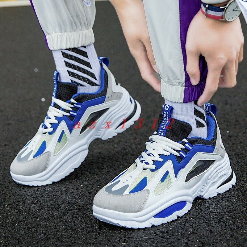 Men Round Toe Lace Up Sneaker Athletic shoes Korean Wedge Running Stylish Casual