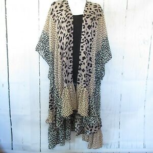 New-Umgee-Kimono-Cardigan-1X-2X-Animal-Leopard-Mixed-Duster-Ruffle-Plus-Size