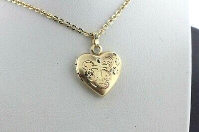 14K Yellow Gold Cross In Heart Charm Pendant