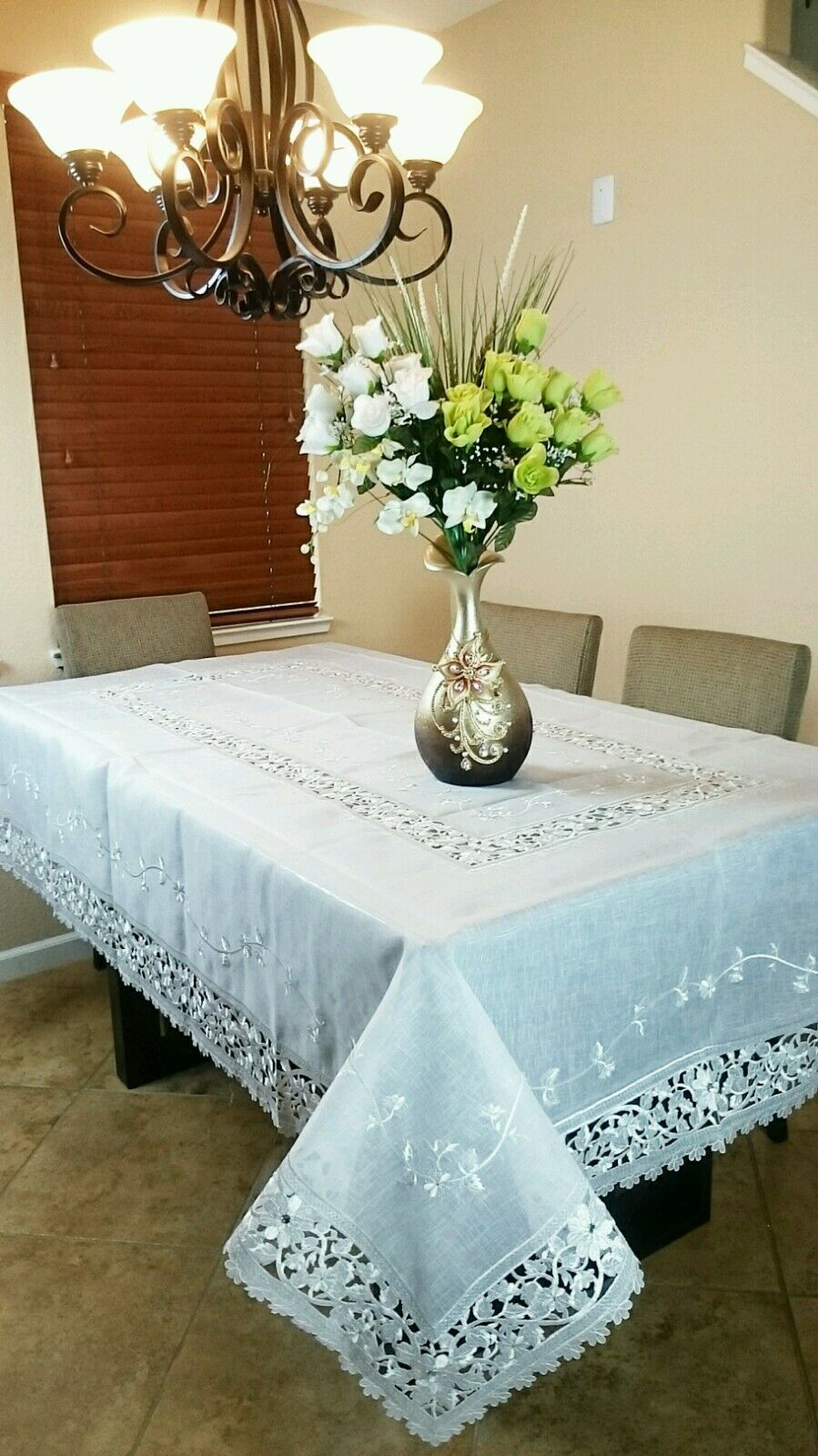 72x180  Embroiderouge Embroidery Handmade Jeweled Organza Tablecloth Elegantlinen