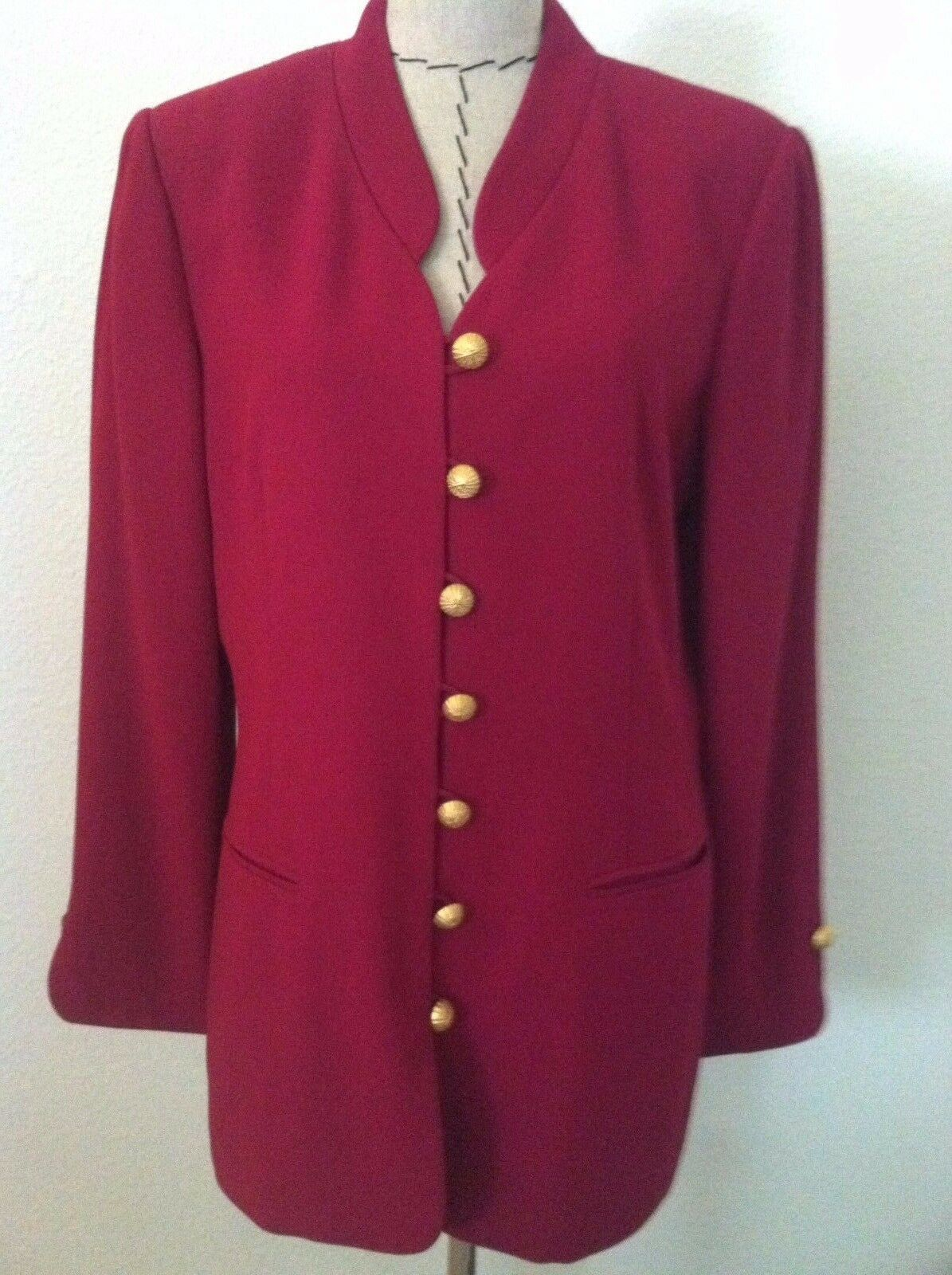 Casual Corner women blazer purple purple gold matte button up no collar size 14