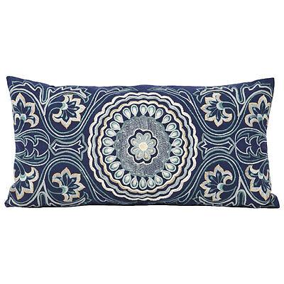 Paoletti Landsdown Embroidered 100% Cotton Boudoir Cushion Cover, Blue, 30x65Cm