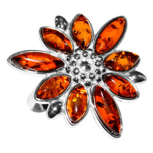 5-8g-Authentic-Baltic-Amber-925-Sterling-Silver-Ring-Jewelry-N-A7325A