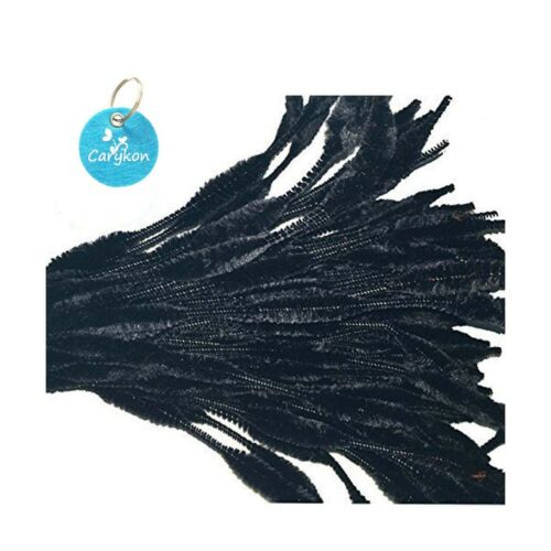 Caryko Fuzzy Bump Chenille Stems Pipe Cleaners Pack of 100 Black