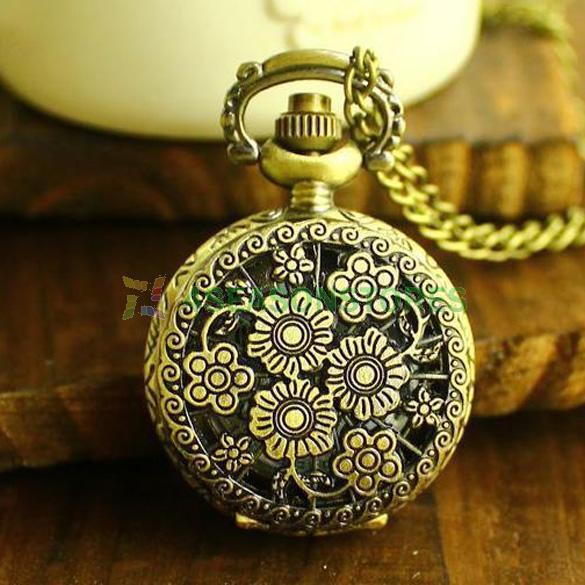 Antique Vintage Retro Bronze Quartz Flower Pendant Chain Necklace Pocket Watch