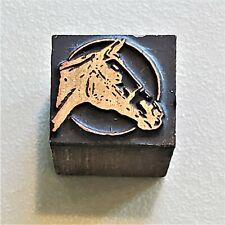 Vintage Copper On Wood Letterpress Print Stamp Block Horse Head Harness Pb48