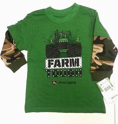 Dolce Nuovo John Deere Verde A Strati Camo Maniche Lunghe T-shirt Fattoria Resistente