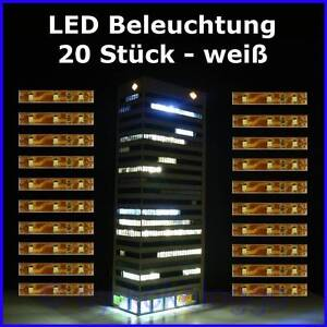 S333-20-Stueck-LED-Hausbeleuchtung-Waggonbeleuchtung-je-5cm-3-SMD-LEDs-WEIss