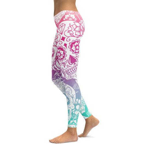Women leggings floral skull printed slim elastic legging S-4XL 8colors to Pick