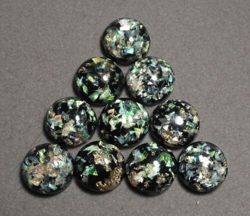 g535 10 x 12 mm /'BLACK /& GOLD Opal/' Flat backed Acrylic Cabochons
