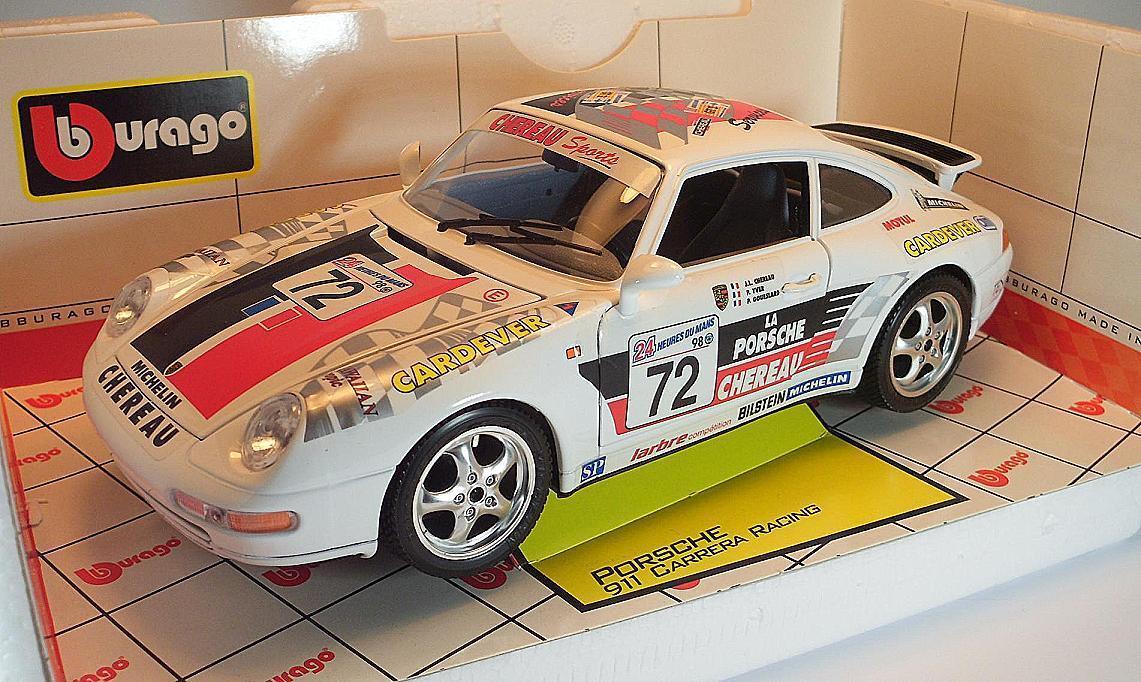 BBURAGO 1/18 PORSCHE 911 CARRERA RACING Chereau/Yver/couseslard in OVP  2710