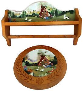 Set-Handpainted-Country-Decor-Wood-Shelf-w-Pegs-amp-Matching-Round-Wood-Wall-Plate