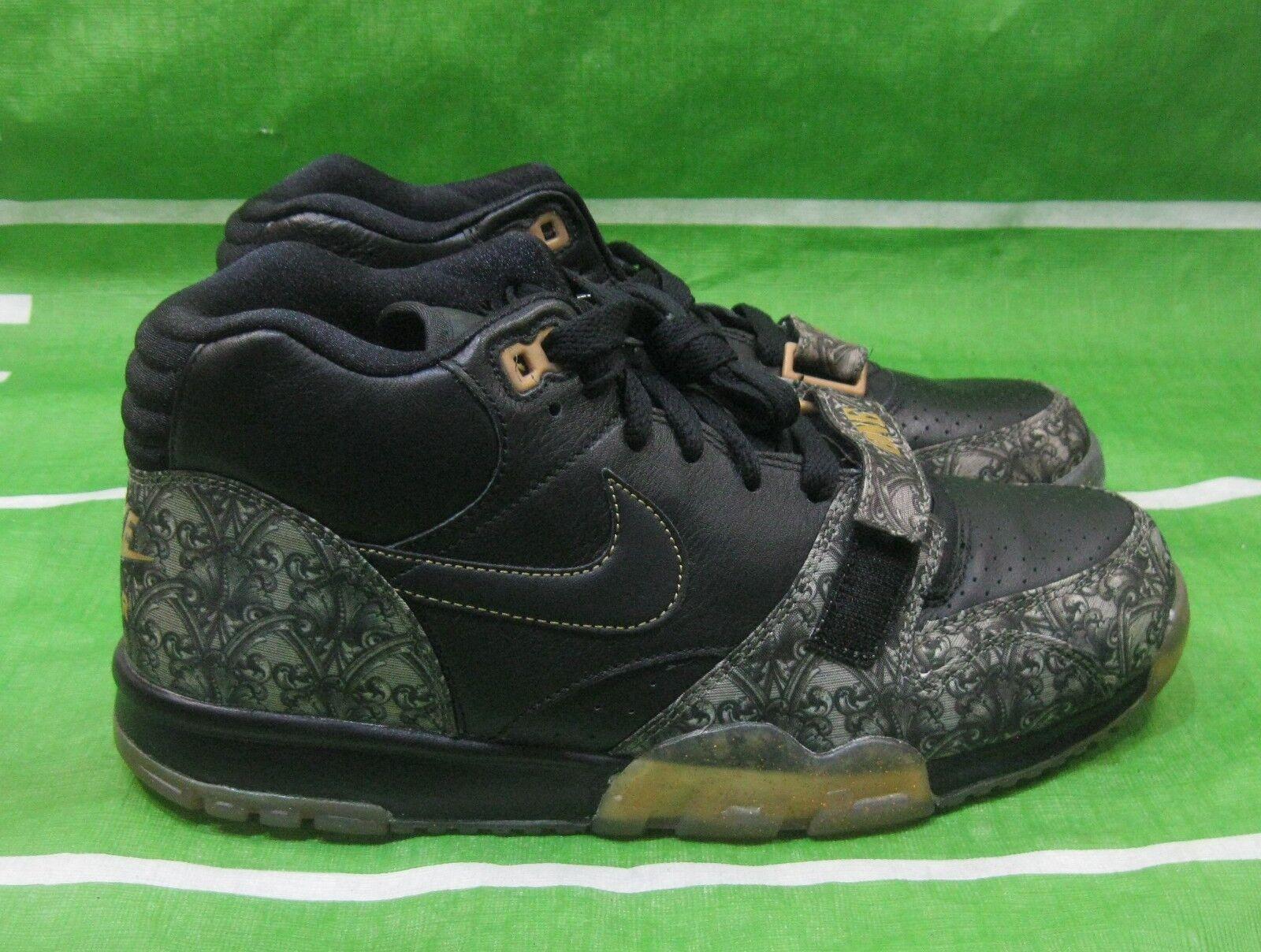 Nike Air Trainer 1 MID PRM QS 607081-002 Black Metallic Gold Money One Size 10