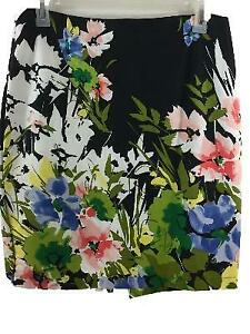 Notations-skirt-size-L-large-pencil-stretch-pink-green-floral-on-black