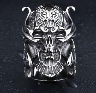 Edelstahl Ring Predator vs. Alien Biker Gothic EMO Kult  Krieger Schädel (RE28)
