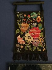 Old Authentic Bedouin Embroidery w/antique coin Black Wall Hanging from Israel