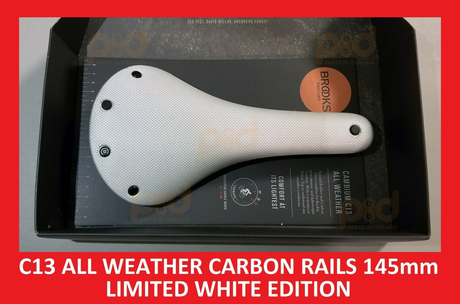 2019 Brooks Cambium C13 WHITE 145 mm ALL WEATHER CARBON RAILS Rubber Saddle Seat