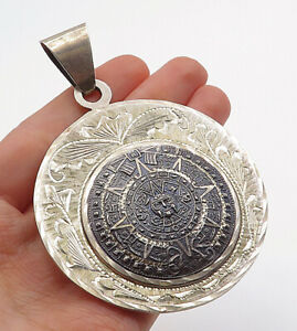 MEXICO-925-Sterling-Silver-Vintage-2-Tone-Mayan-Sun-Calendar-Pendant-P10430
