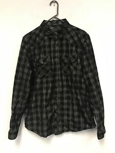Vintage-Men-Guess-Finest-Denim-And-Dry-Goods-Black-Long-Sleeve-Button-Shirt-L