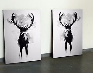 xl bild set 110x70 neu leinwand hirsch schwarz weiss abstrakt natur gem lde ikea ebay. Black Bedroom Furniture Sets. Home Design Ideas